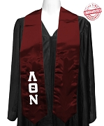 Lambda Theta Nu Satin Graduation Stole with Greek Letters, Burgundy