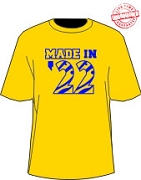 MADE IN... Shirt - Gold and Royal (SGRho) - EMBROIDERED with Lifetime Guarantee