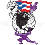 Man Holding Globe & Puerto Rican Flag Patch