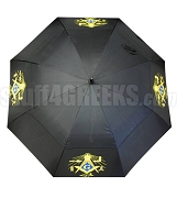 Masonic Auto Open Golf Umbrella with Square and Compass, Black (NS)