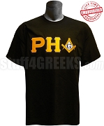 Prince Hall Mason T-Shirt with Square and Compass, Black - EMBROIDERED with Lifetime Guarantee