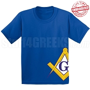 Square & Compasses T-Shirt, Royal - EMBROIDERED with Lifetime Guarantee