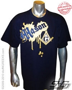 Mason Metallic Vintage T-Shirt, Navy - EMBROIDERED with Lifetime Guarantee