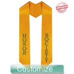 Personalized Diagonally Cut Satin Graduation Stole (OTHER COLORS AVAILABLE) - EMBROIDERED with Lifetime Guarantee