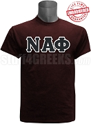 Nu Alpha Phi Greek Letter T-Shirt, Maroon - EMBROIDERED with Lifetime Guarantee