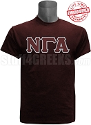 Nu Gamma Alpha Greek Letter T-Shirt, Maroon - EMBROIDERED with Lifetime Guarantee