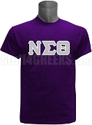 Nu Sigma Theta Screen Printed Greek Letter T-Shirt, Purple