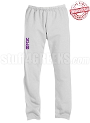 Nu Sigma Theta Basic Greek Letter Sweatpants, Sports Grey - EMBROIDERED with Lifetime Guarantee