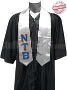Nu Tau Beta Satin Graduation Stole with Greek Letters, Silver - EMBROIDERED with Lifetime Guarantee