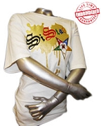 SiStar Metallic Vintage T-Shirt, White - EMBROIDERED with Lifetime Guarantee