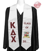Official Kappa Delta Chi (KDChi) Graduation Stole for Bachelors Degrees, White Satin