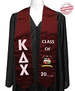 Official Kappa Delta Chi (KDChi) Graduation Stole for Masters Degree, Maroon Satin