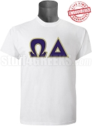 Omega Delta Greek Letter T-Shirt, White - EMBROIDERED with Lifetime Guarantee