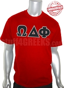 Omega Delta Phi Greek Letter T-Shirt, Red - EMBROIDERED with Lifetime Guarantee