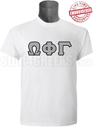 Omega Phi Gamma Greek Letter T-Shirt, White - EMBROIDERED with Lifetime Guarantee