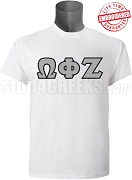 Omega Phi Zeta Greek Letter T-Shirt, White - EMBROIDERED with Lifetime Guarantee
