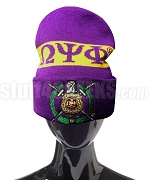 Omega Psi Phi Beanie Hat with Organization Name and Crest - Purple (SAV)