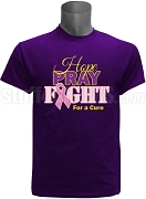 Omega Psi Phi Hope, Pray, Fight Breast Cancer Awareness Screen Printed T-Shirt, Purple