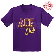 Ace Club T-Shirt, Purple/Old Gold - EMBROIDERED with Lifetime Guarantee