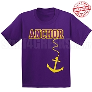 Anchor T-Shirt, Purple/Old Gold - EMBROIDERED with Lifetime Guarantee