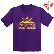 Captain T-Shirt, Purple/Old Gold - EMBROIDERED with Lifetime Guarantee