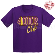 4/Four Club T-Shirt, Purple/Old Gold - EMBROIDERED with Lifetime Guarantee