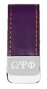 Omega Psi Phi Leather Money Clip