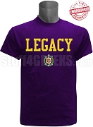 Omega Psi Phi Legacy T-Shirt, Purple - EMBROIDERED with Lifetime Guarantee