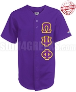 Omega Psi Phi Greek Letter Cloth Baseball Jersey, Purple (TW) - EMBROIDERED WITH LIFETIME GUARANTEE