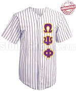 Omega Psi Phi Cloth Pinstripe Baseball Jersey with Greek Letters (TW) - EMBROIDERED WITH LIFETIME GUARANTEE