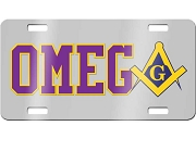 Omega Psi Phi License Plate with Mason Square and Compass on Silver Background