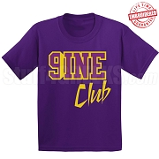 9/Nine Club T-Shirt, Purple/Old Gold - EMBROIDERED with Lifetime Guarantee