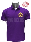 Omega Psi Phi Omega Lightning Bolt Polo Shirt, Purple - EMBROIDERED with Lifetime Guarantee