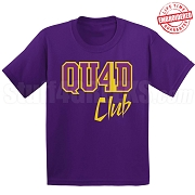 4/Quad Club T-Shirt, Purple/Old Gold - EMBROIDERED with Lifetime Guarantee