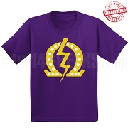 Q Bolt with 20 Pearls T-Shirt, Purple - EMBROIDERED with Lifetime Guarantee