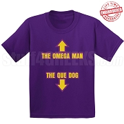 Omega Man, Que Dog T-Shirt, Purple - EMBROIDERED with Lifetime Guarantee