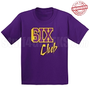 6/Six Club T-Shirt, Purple/Old Gold - EMBROIDERED with Lifetime Guarantee