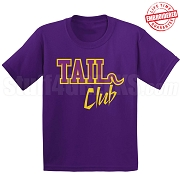 Tail Club T-Shirt, Purple/Old Gold - EMBROIDERED with Lifetime Guarantee