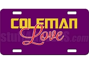 Omega Psi Phi/Diva Coleman Love Dye-Sublimated License Plate on Purple Background