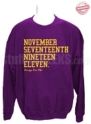 Omega Psi Phi Founding Date Sweatshirt, Purple - EMBROIDERED with Lifetime Guarantee