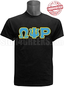 Omega Psi Rho Greek Letter T-Shirt, Black - EMBROIDERED with Lifetime Guarantee