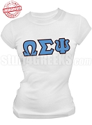 Omega Sigma Psi Greek Letter T-Shirt, White - EMBROIDERED with Lifetime Guarantee