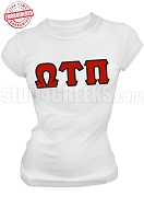 Omega Tau Pi Greek Letter T-Shirt, White - EMBROIDERED with Lifetime Guarantee