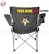Order of the Eastern Star Crest Lawn Chair with Choice of Text, Black - EMBROIDERED WITH LIFETIME GUARANTEE