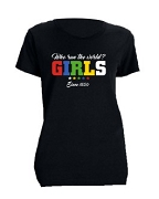 Order of the Eastern Star Girls Run The World Screen Printed T-Shirt, Black