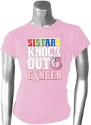 Order of the Eastern Star Pink Ribbon Knock Out (Breast) Cancer Printed T-Shirt, Pink