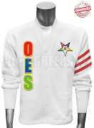 Order of the Easter Star Fatal Star Cardigan with Organization Name Red Stripes, White