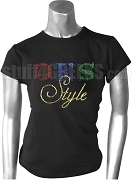 Order of the Eastern Star Style Metallic Stone Stud T-Shirt, Black