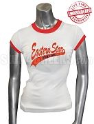 Order of the Eastern Star For Life T-Shirt, White/Red - EMBROIDERED with Lifetime Guarantee