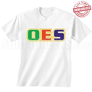OES Triple-Layered Letters T-Shirt, White - EMBROIDERED with Lifetime Guarantee